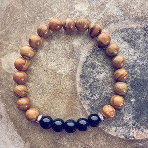 beaded gemstone wrist mala bracelet - obsidian